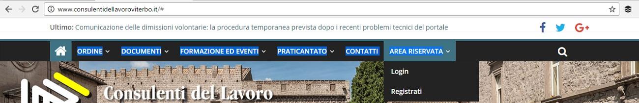 area riservata sito web