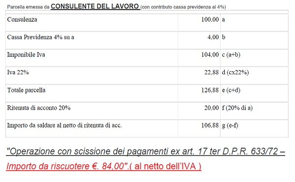 Split payment professionisti consulenti del lavoro viterbo for Parcella notaio