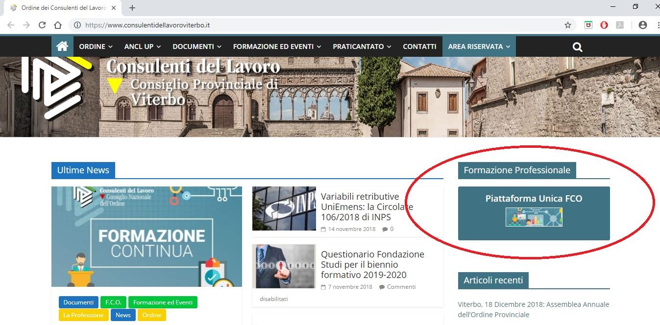 Home modifiche Piattaforma Unica FCO